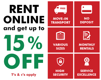Rent online and get up to 15% off. T's and C's apply.